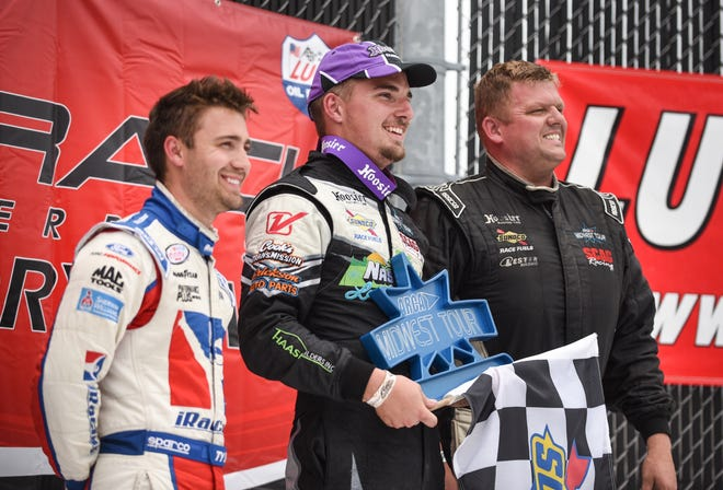 Austin Nason, winner of the 2019 ARCA Midwest Tour Father's Day 100, is flanked by runner-up Ty Majeski, left, and third-place finisher Dan Fredrickson.