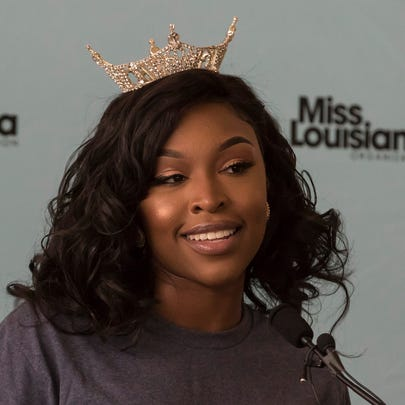 Miss Louisiana Pageant contestant Sydney Jack introduces herself at the pageant press conference at the Jack Howard Theater in Monroe, La. on June 17.