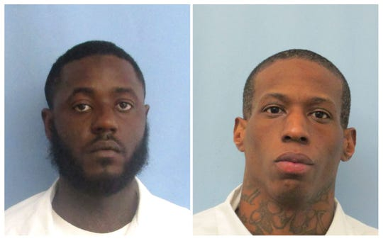 This combination of undated photos provided by the Alabama Department of Corrections shows Jarvis Terrell Taylor, left, and Jeremy Rashad Bailey. Bailey, an inmate at Fountain Correctional Facility, was killed Saturday, June 15, 2019, in a stabbing that occurred at the facility in Atmore, Ala. Officials identified fellow inmate Taylor, who is being charged with murder, as a suspect in the stabbing. (Alabama Department of Corrections via AP)