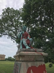 "A Confederate monument in Nashville's Centennial Park was vandalized with red paint and the message ""They were racists."" Monday, June 17, 2019."