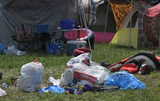 A chair and sleeping bag along with trash were left at a campsite at Bonnaroo Music and Arts Festival on Sunday, June 16, 2019 in Manchester, Tenn.