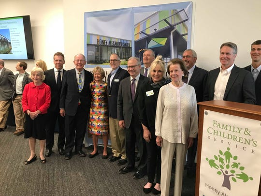 """The """"transformative donors"""" of the Honey Alexander Center pose for a photo on June 17, 2019, in Nashville, Tenn."""