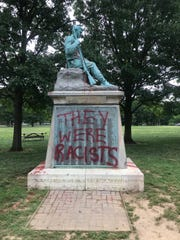 A Confederate monument in Centennial Park in Nashville, Tenn., was found vandalized Monday.