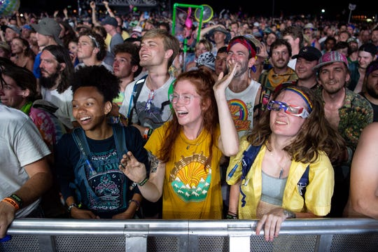 Fans react as Phish performs at Bonnaroo in 2019. The 2020 festival has been canceled after initially being postponed.