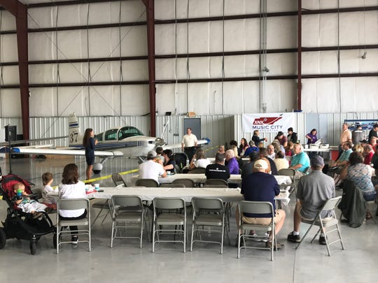 Mayor Paige Brown speaks at a breakfast June 8 as the Sumner County Regional Airport announced its name change to Music City Executive.