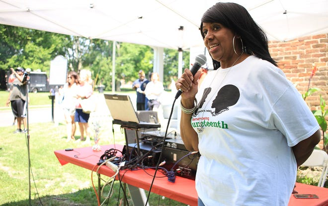 Alma McLemore, president of the African American Heritage Society, welcomes everyone to the 15th Annual Juneteenth at the McLemore House in Franklin, Tenn., on Saturday, June 15, 2019.