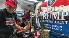 Maureen LaBree, 73, of Leesburg, Florida, stands in the line with about 60 others more than 24 hours before President Donald Trump will announce his re-election bid  in the Amway Center in Orlando, Florida Monday June 17, 2019.