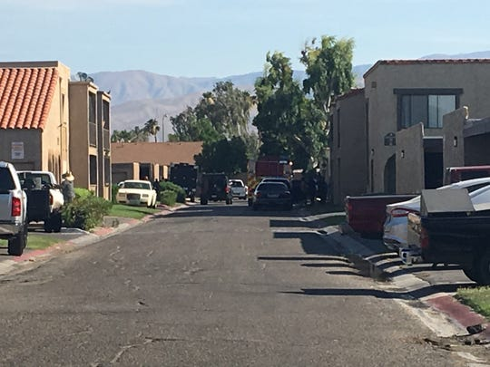 Law enforcement officials had been outside an apartment building in the 81-800 block of Shadow Palm Avenue for about eight hours after beginning an investigation into the fight, Indio police spokesman Ben Guitron said.