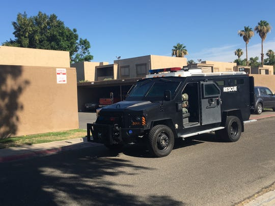 An Indio police SWAT unit on Monday morning, June 17, 2019, leaves the apartment complex where a standoff held neighbors at bay overnight in Indio.