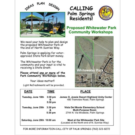 The city of Palm Springs is asking for residents to get involved with the construction of the new Whitewater Park