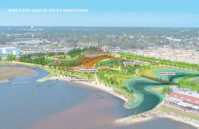 This illustration shows a bird's eye view of the proposed Bruce Beach Park.
