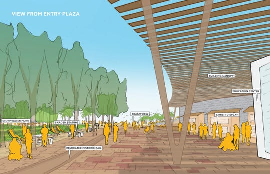 This illustratation shows a view from the entry plaza of the proposed Bruce Beach Park.