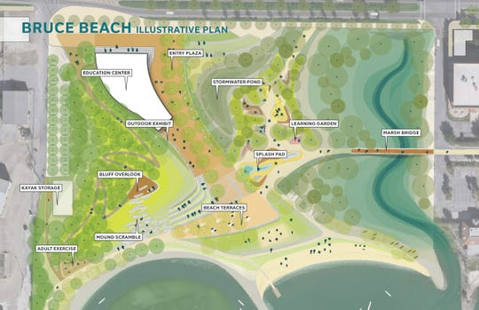 This illustrative plan shows what Bruce Beach could look like under a project proposed by SCAPE.