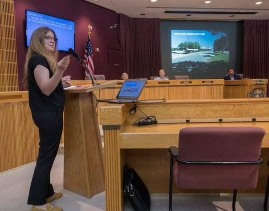 Gena Wirth, design principal at SCAPE Landscape Architecture DPC, gives a presentation to the Pensacola City Council on Monday, June 17, 2019, presenting a detailed look at the firm's proposed plans to reimagine the Pensacola waterfront.