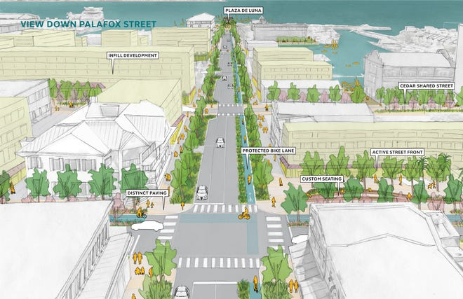 "Under the proposed ""hashtag"" connector project, this visualization shows the view down Palafox Street."