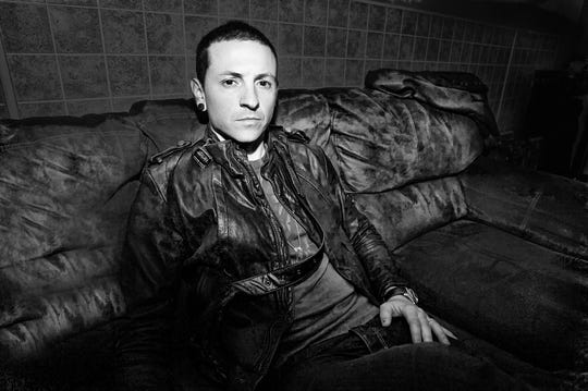 Chester Bennington backstage at the Marquee Theatre, 2008.