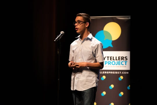Jack Florez tells his tale during the Arizona Storytellers Project presents My Culture, My Identity at the Scottsdale Center for Performing Arts on Wednesday, Jun. 12, 2019.