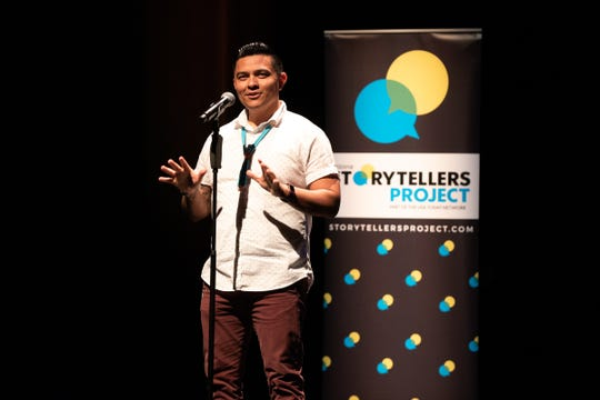 "Kyle Mitchell tells his tale during the Arizona Storytellers ""My Culture, My Identity"" event June 12, 2019, at the Scottsdale Center for the Performing Arts."