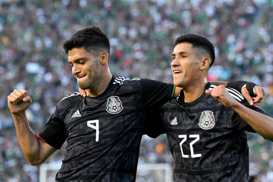 PASADENA, CA - JUNE 15: Raul Jimenez #9 celebrates with Uriel Antuna #22 of Mexico after a goal in the first half of the game against Cuba at the Rose Bowl on June 15, 2019 in Pasadena, California. (Photo by Jayne Kamin-Oncea/Getty Images)