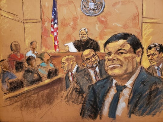 Reproducción fotográfica de un dibujo realizado por la artista Jane Rosenberg de El Chapo en la Corte de N.Y.