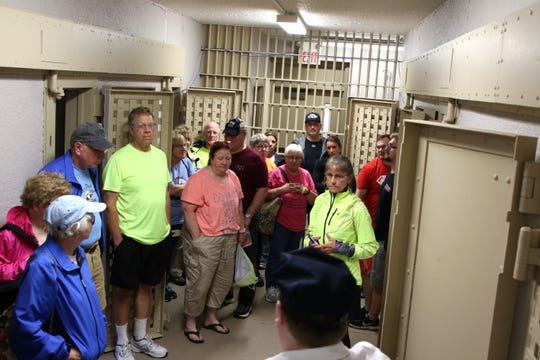 Cyclists visited the old county jail in Fremont. The Great Ohio Bike Adventure with more than 1,000 cyclists made their way to a base camp at Terra State Community College on Sunday.