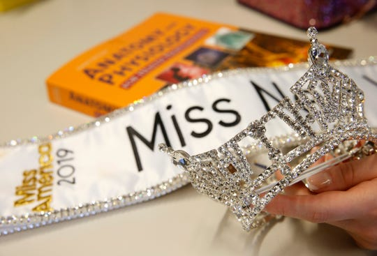 The Miss New York crown and sash belonging to Lauren Molella, winner of the 2019 Miss New York pageant at Dutchess Community College in the Town of Poughkeepsie on June 14, 2019.