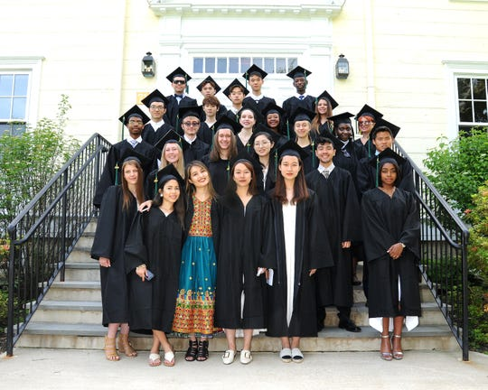 Oakwood Friends School in Poughkeepsie held its graduation June 7. The Class of 2019 graduates are, front row, left to right, Caitlin Amann, Mitashie (Mishy) Olmo, Mahdia (Hadi) Daqiq, Xinling (Clare) Wanf and Xinli (Heidi) Wang and Denique (Abbie) Tulloch. Second row, left to right, are Victoria Allen, Anne Kronenberg, Yicheng (Annice) Liu, Thomas (Sage) Perkins and Sean (Xiao) Kirchner. Third row, left to right, are Joseph Spence, Eli Pollard, Olivia Castanza-Leasure, Terkala Gray, Katarzyna (Kasia) Tomporowska, Nafisa Rashid and Vera (Rosie) Kilby. Fourth row, left to right, are Ye (Joe) Chen, Donglin (Layton) Liu and Jaymee Cordova. Back row, left to right, are Adam Feldman, Zhesen (Jason) Wang, Youyin (Benna) Su, Yifeng (Evan) Qian and Ian Musumba.