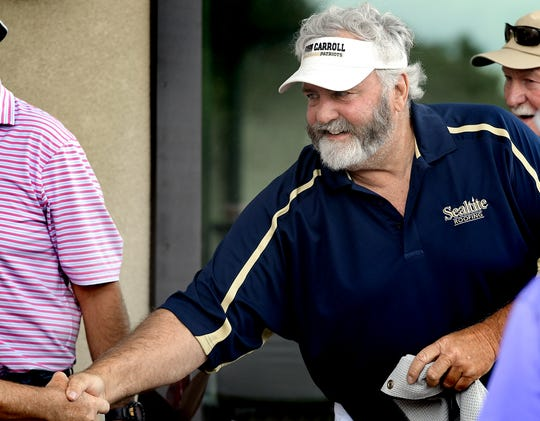 Former NFL player and Penn State graduate Scott Fitzkee meets his group during the Eddie Khayat and George Tarasovic Celebrity Golf Classic at Out Door Country Club Monday, June 17, 2019. The annual event benefits York County Special Olympics. Bill Kalina photo