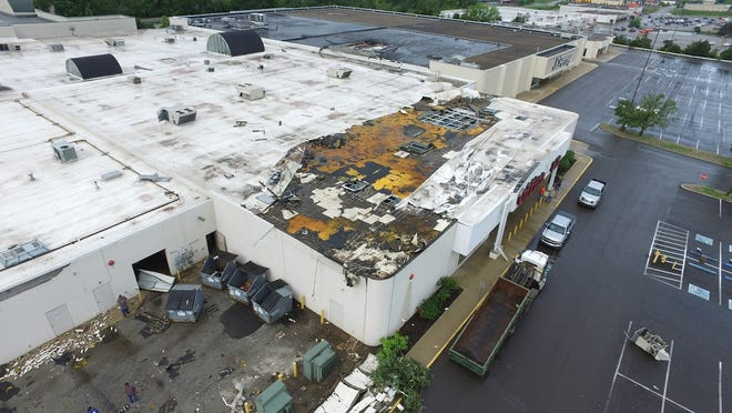 This image taken by the Richmond Fire Department's drone on Monday, June 17, 2019, shows damage caused by the late-night tornado on Saturday.