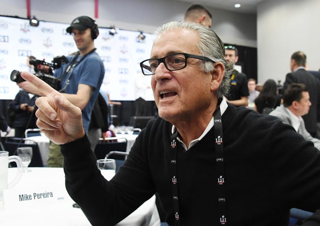 Mike Pereira is interviewed during the Fox Sports press conference at the George R. Brown Convention Center prior to Super Bowl LI.