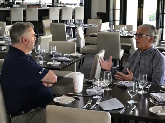 Former NFL official and current FOX Sports rules analyst, Mike Pereira (right) was in Rochester to host his charity golf tournament at Cobblestone Creek.