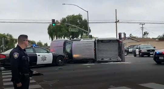 A woman is in serious condition after a 19-year-old driver hit a truck at the intersection of Natividad Road and Los Coches Avenue in Salinas on June 14, 2019.