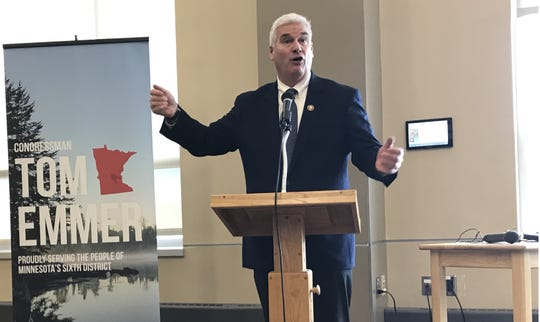 U.S. Rep. Tom Emmer makes the opening remarks at Resources for Aging Well: A Seminar for Seniors in St. Michael City Hall on June 14, 2019.