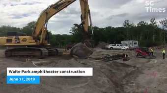 Crews work Monday, June 17 on the early stages of an amphitheater slated to hold between 4,000 and 5,000 people and anticipated to open summer 2020.