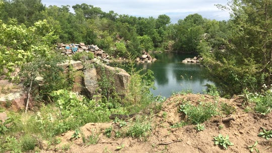 A quarry will be the focal point of the new amphitheater being built in Waite Park, pictured Monday, June 17.