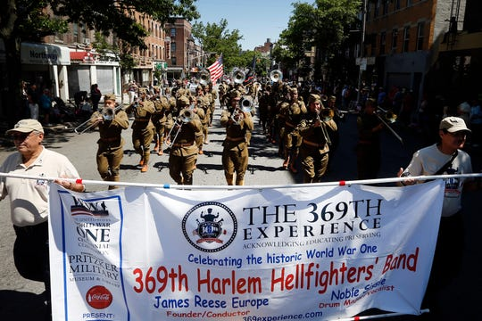 "The 369th Experience, a WWI tribute band sponsored by the U.S WWI Centennial Commission, leads the Brooklyn Memorial Day Parade during Fleet Week New York, which this year is commemorating WWI, Monday, May 27, 2019, in New York. The band, which is made up of music students from Historically Black Colleges and Universities across the U.S., play the musical repertoire of New York's legendary 369th Regiment ""Harlem Hellfighters"" Regimental Jazz Band."