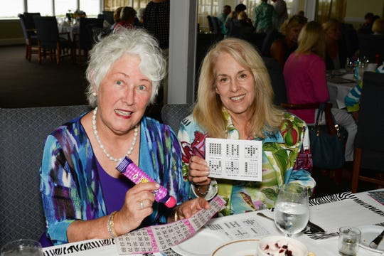 Toni Hamner, left, and Barb Andrews at the Backus Bingo luncheon June 7 at the Pelican Yacht Club in Fort Pierce.