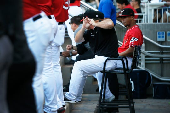 El Paso Chihuahuas hitting coach Morgan Burkhart in the dugout during the game against the Oklahoma City Dodgers Sunday, June 16, at  Southwest University Park in El Paso.