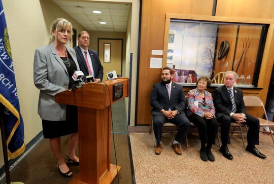 Susan Branam, Director of the Veterans Service Agency of Rockland County speaks during the opening of the Satellite Veteran's Center at Clarkstown Town Hall in New City June 17, 2019. The center will provide mental health services for local veterans. With Branam was George Hoehmann, Clarkstown Supervisor, Gabriel Botero, Jr. Veterans Center Director, Rep. Nita Lowey, D-Harrison, and Ed Day, Rockland County Executive.