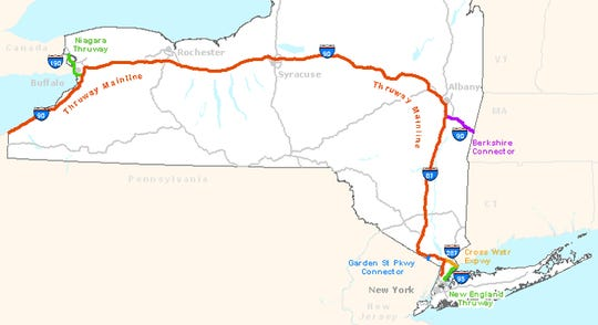Map of the New York State Thruway system