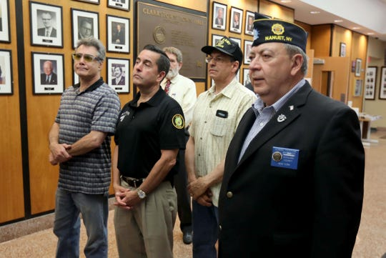 Local veterans watch as officials speak during the opening of the Satellite Veteran's Center at Clarkstown Town Hall in New City June 17, 2019. The center will provide mental health services for local veterans.