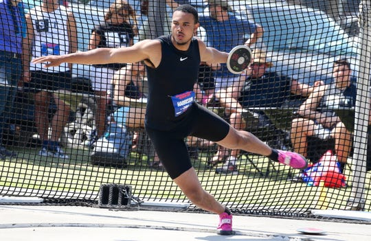 Ramapo's Anthony Harrison prepares to throw the discus June 16, 2019 during the 2019 New Balance Outdoor Nationals in Greensboro, NC. He won bronze and became an All-American.