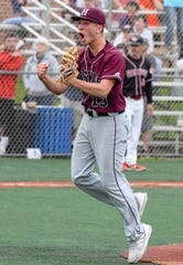 Harrison pitcher Vinny Corso celebrates during a game in 2019. The junior right-hander was named Section 1's Pitcher of the Year.
