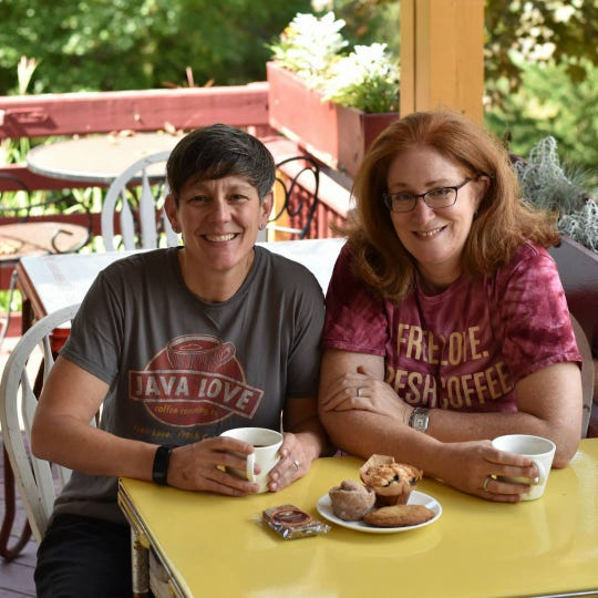 Jodie Dawson, right, and Kristine-Ellis Petrik, left, of Java Love Coffee Roasting Co. The two women are opening their fourth location in Suffern in August.