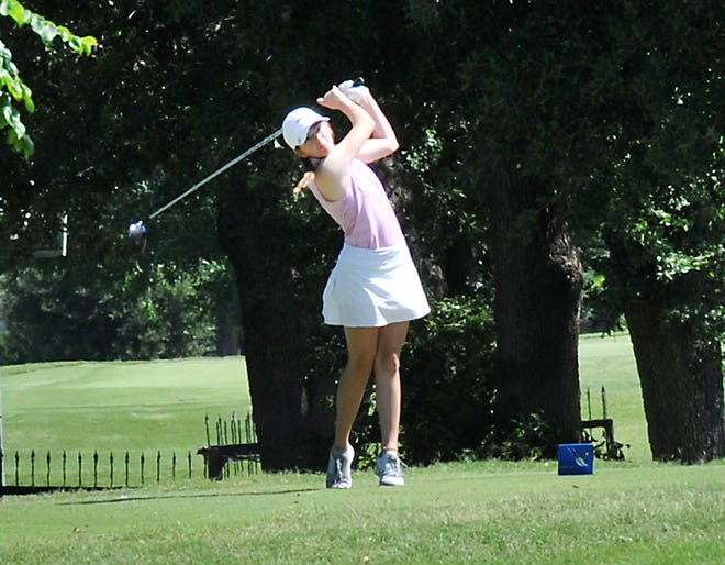Midland, Texas' Mackenzie Chandler, 16, tee-ed off during the 63rd annual Texas-Oklahoma Golf Tournament held at the Wichita Falls Country Club, Monday.