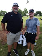 JT Boyd (right) is in contention after the first round of Texas-Oklahoma Golf Tournament and credits his caddy and father, Trenton, for his strong start.