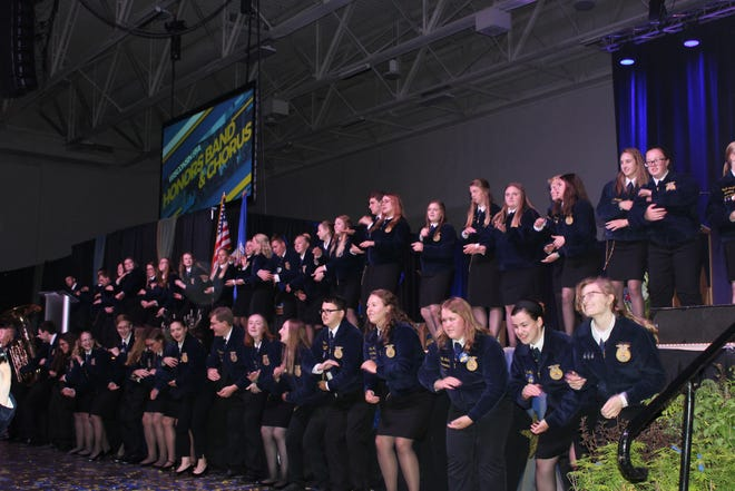 FFA members join in the fun prior to the opening of an evening session at last year's Wisconsin FFA Convention in Madison. While this year's event is postponed, the state officer team is putting together an online experience that will take place during the originally scheduled convention dates in June where they plan to celebrate and recognize the accomplishments of our members and award winners, said state officer team president Collin Weltzien.