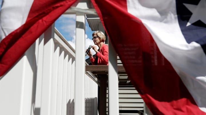 Sen. Elizabeth Warren, D-Mass., campaigns for president in Windham, New Hampshire, on June 14, 2019.