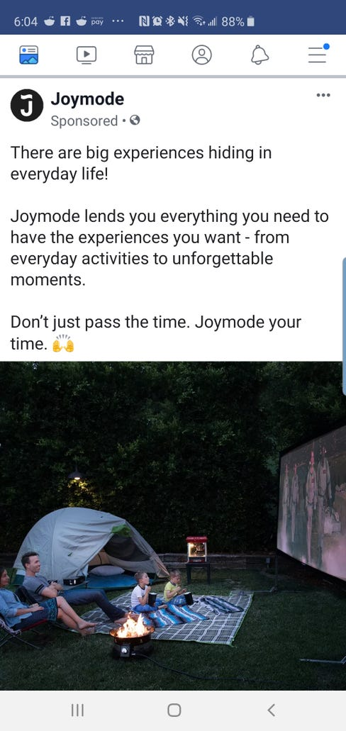 Ad for Joymode appeared on editor's phone