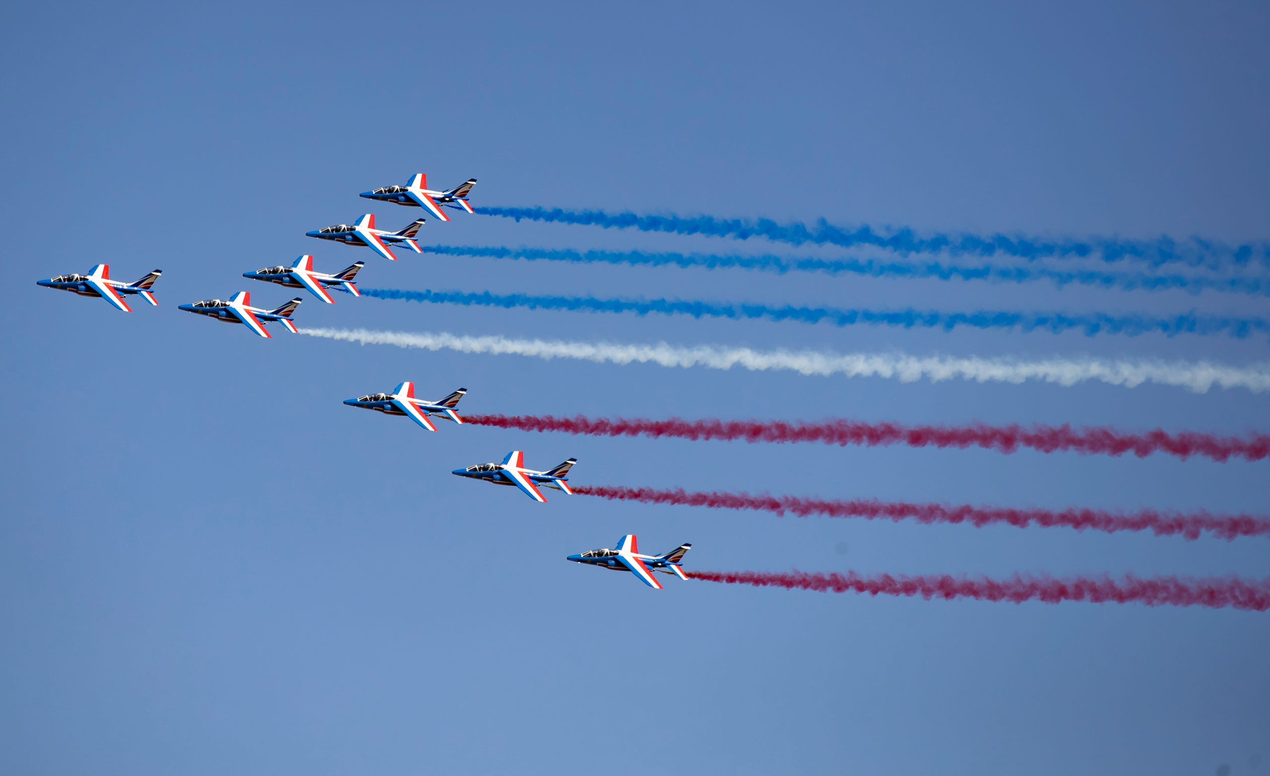 Alpha jets from the French Air Force Patrouille de France perform a demonstration, June 17, 2019.
